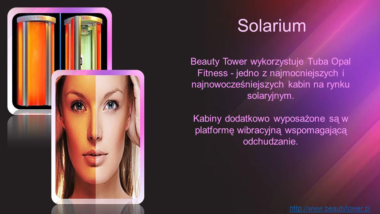 Solarium Beauty Tower wykorzystuje Tuba Opal Fitness - jedno z najmocniejszych i najnowocześniejszych kabin na rynku solaryjnym. Kabiny dodatkowo wypo