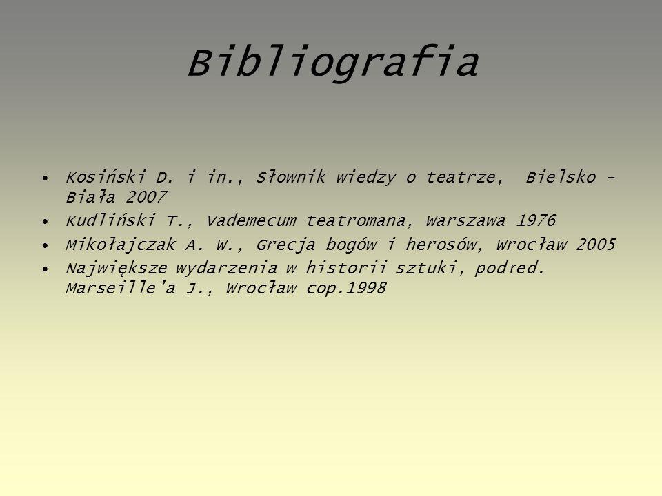 Bibliografia Kosiński D. i in., Słownik wiedzy o teatrze, Bielsko - Biała 2007 Kudliński T., Vademecum teatromana, Warszawa 1976 Mikołajczak A. W., Gr