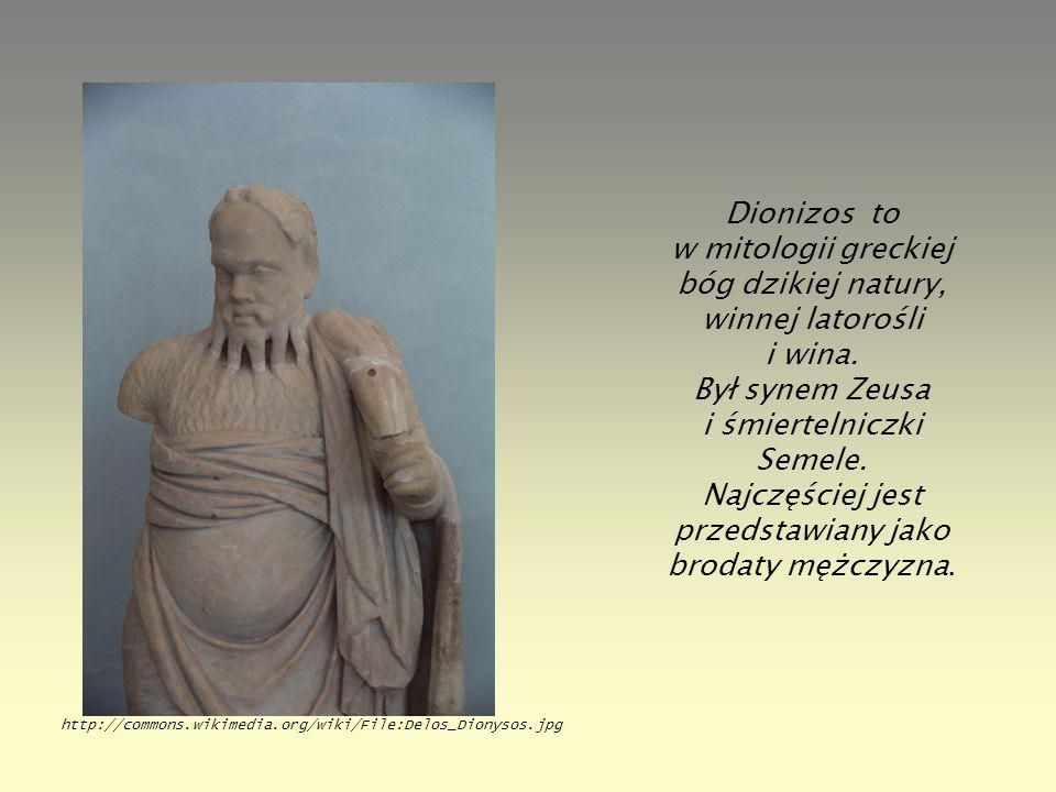 Dionizos to w mitologii greckiej bóg dzikiej natury, winnej latorośli i wina. Był synem Zeusa i śmiertelniczki Semele. Najczęściej jest przedstawiany