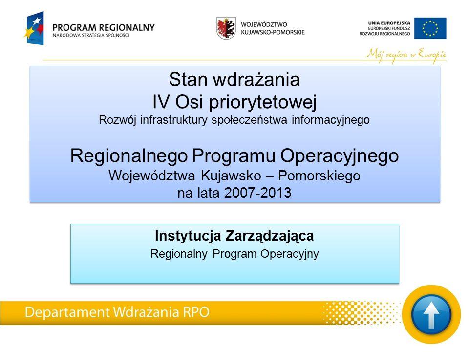 Stan wdrażania IV Osi priorytetowej Rozwój infrastruktury społeczeństwa informacyjnego Regionalnego Programu Operacyjnego Województwa Kujawsko – Pomorskiego na lata 2007-2013 Instytucja Zarządzająca Regionalny Program Operacyjny Instytucja Zarządzająca Regionalny Program Operacyjny