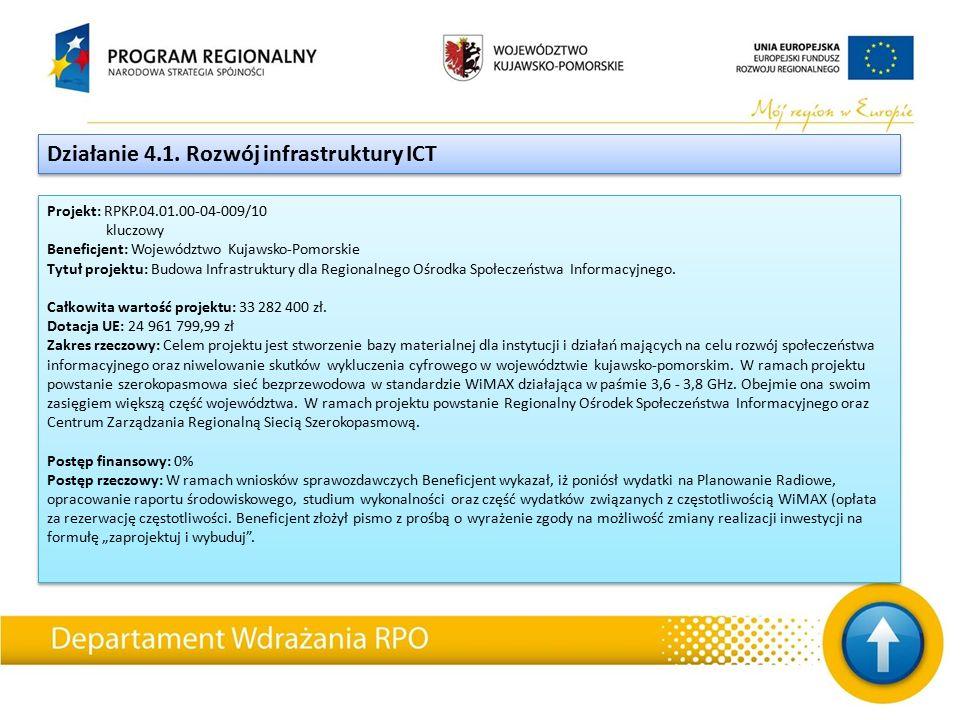 Projekt: RPKP.04.01.00-04-009/10 kluczowy Beneficjent: Województwo Kujawsko-Pomorskie Tytuł projektu: Budowa Infrastruktury dla Regionalnego Ośrodka Społeczeństwa Informacyjnego.