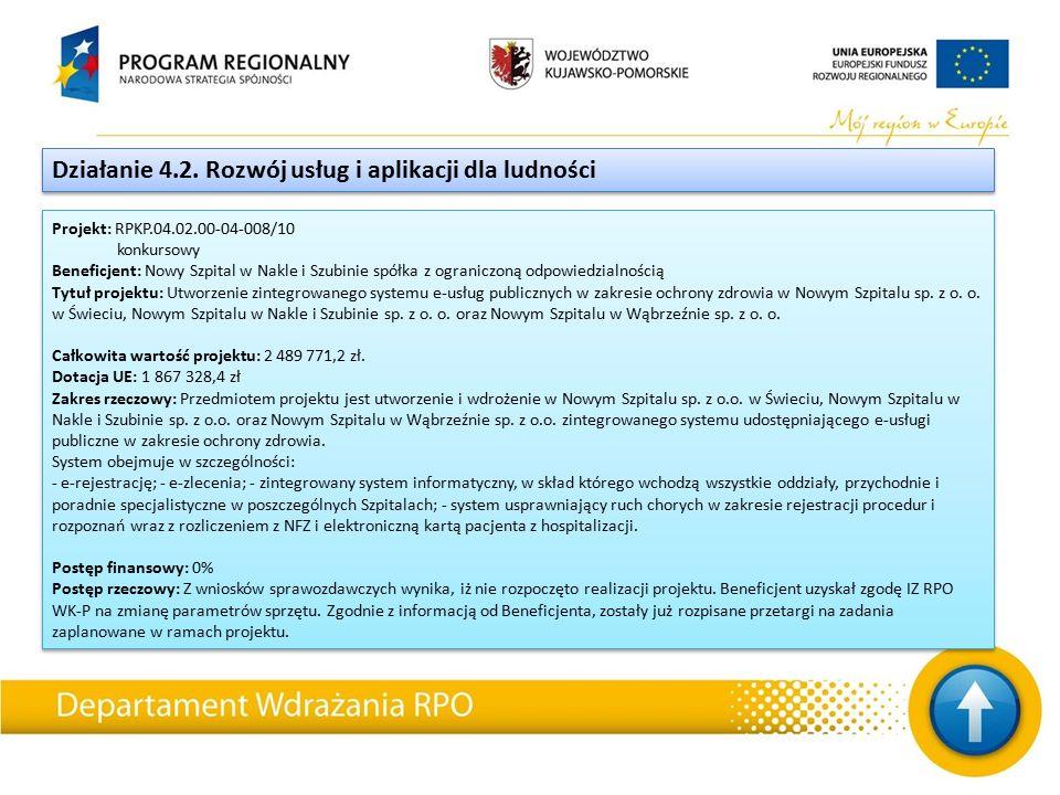 Projekt: RPKP.04.02.00-04-008/10 konkursowy Beneficjent: Nowy Szpital w Nakle i Szubinie spółka z ograniczoną odpowiedzialnością Tytuł projektu: Utworzenie zintegrowanego systemu e-usług publicznych w zakresie ochrony zdrowia w Nowym Szpitalu sp.