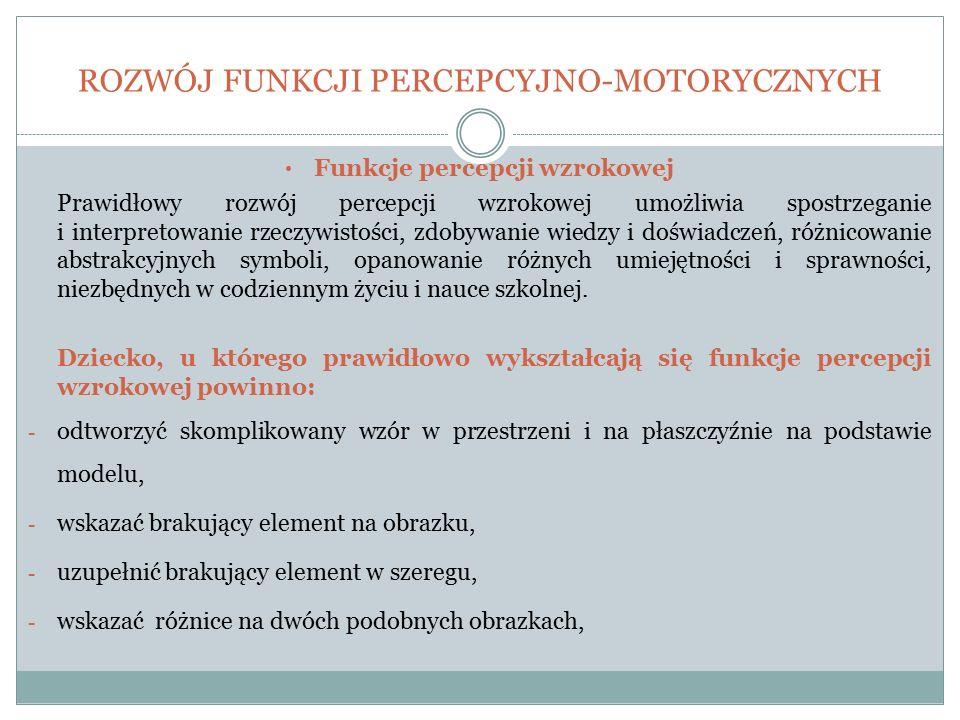 ROZWÓJ FUNKCJI PERCEPCYJNO-MOTORYCZNYCH Funkcje percepcji wzrokowej Prawidłowy rozwój percepcji wzrokowej umożliwia spostrzeganie i interpretowanie rz