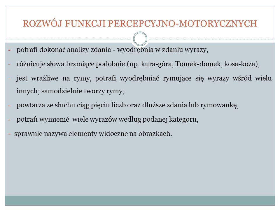 ROZWÓJ FUNKCJI PERCEPCYJNO-MOTORYCZNYCH - potrafi dokonać analizy zdania - wyodrębnia w zdaniu wyrazy, - różnicuje słowa brzmiące podobnie (np. kura-g