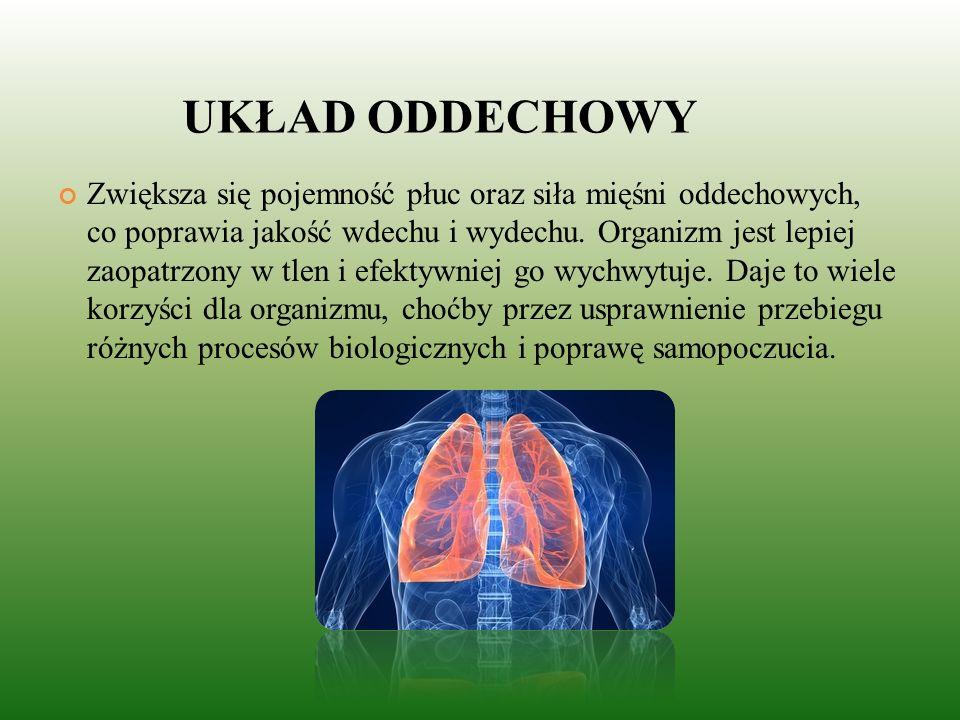 UKŁAD ODDECHOWY Zwiększa się pojemność płuc oraz siła mięśni oddechowych, co poprawia jakość wdechu i wydechu.
