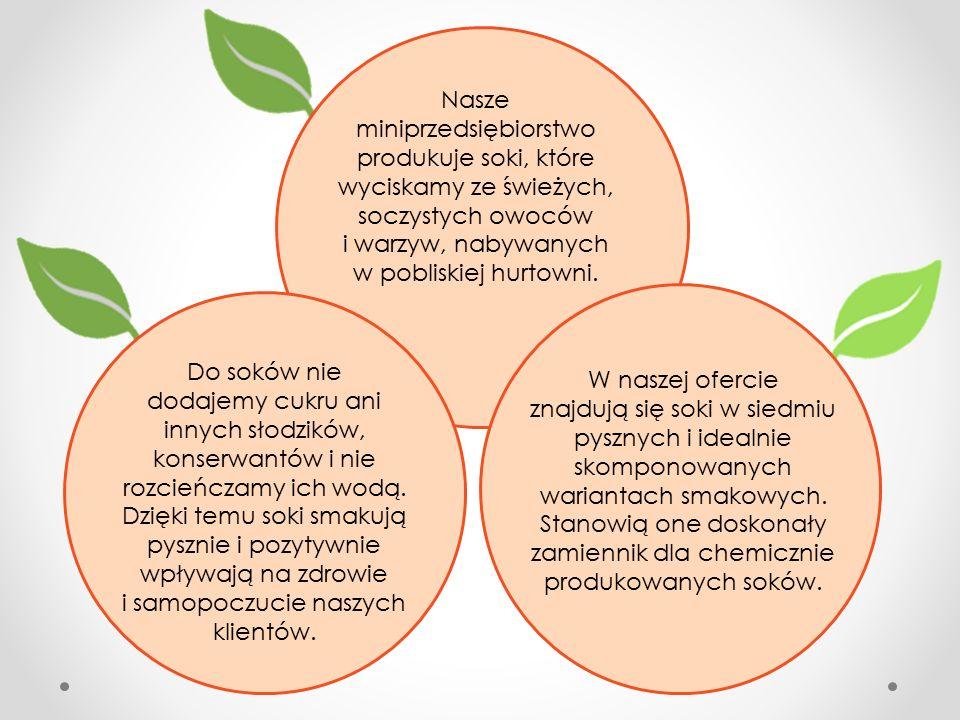 Nasze miniprzedsiębiorstwo produkuje soki, które wyciskamy ze świeżych, soczystych owoców i warzyw, nabywanych w pobliskiej hurtowni.