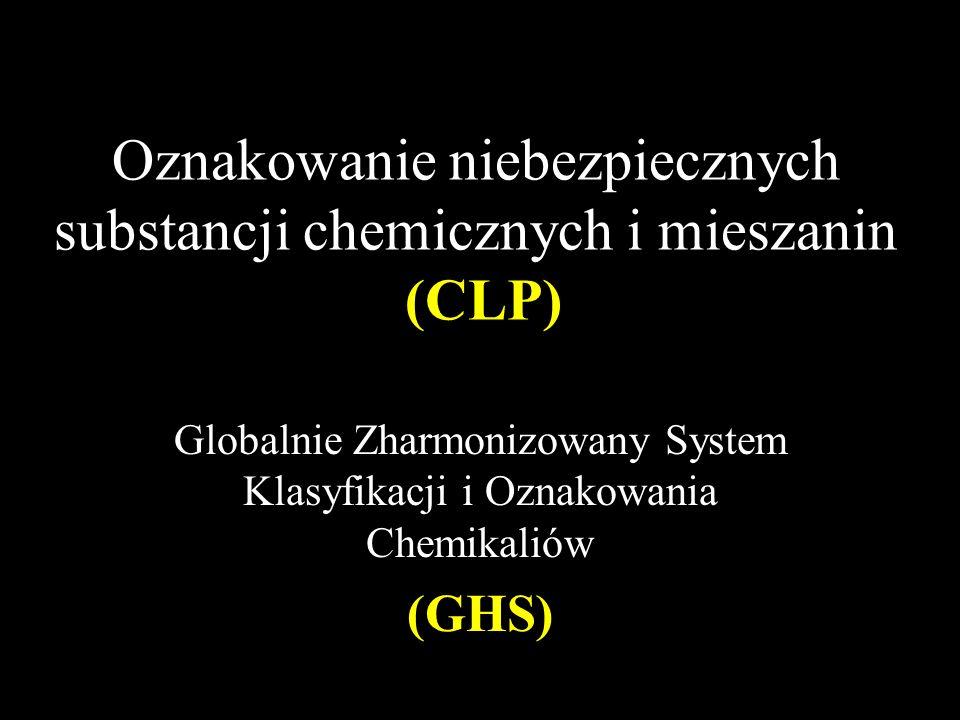 Oznakowanie niebezpiecznych substancji chemicznych i mieszanin (CLP) Globalnie Zharmonizowany System Klasyfikacji i Oznakowania Chemikaliów (GHS)
