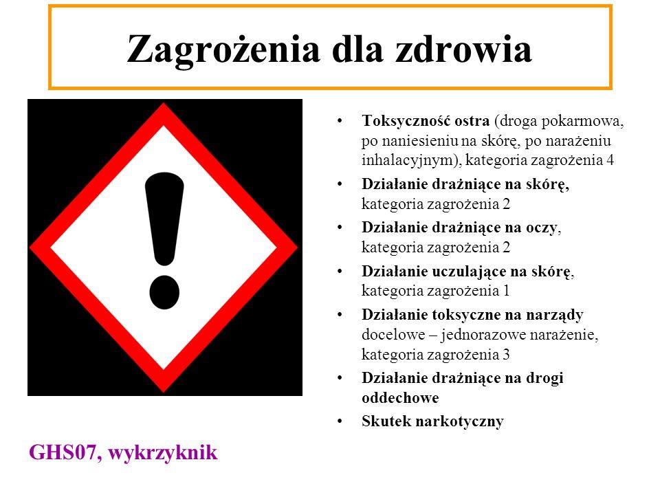 Toksyczność ostra (droga pokarmowa, po naniesieniu na skórę, po narażeniu inhalacyjnym), kategoria zagrożenia 4 Działanie drażniące na skórę, kategori