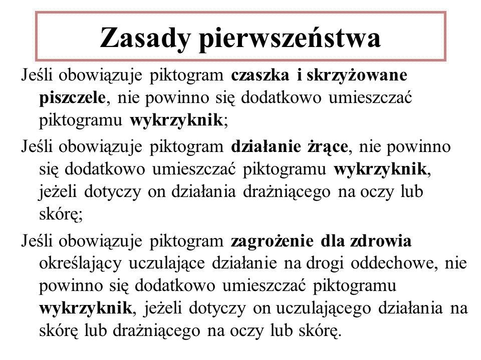 Zasady pierwszeństwa Jeśli obowiązuje piktogram czaszka i skrzyżowane piszczele, nie powinno się dodatkowo umieszczać piktogramu wykrzyknik; Jeśli obo