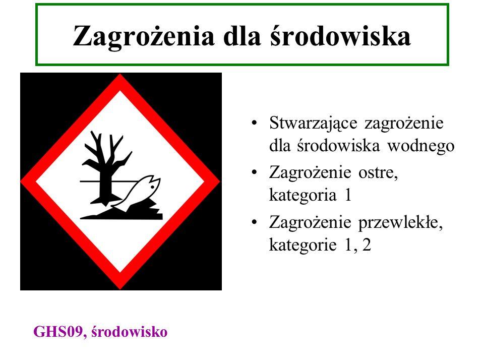 Zagrożenia dla środowiska Stwarzające zagrożenie dla środowiska wodnego Zagrożenie ostre, kategoria 1 Zagrożenie przewlekłe, kategorie 1, 2 GHS09, śro
