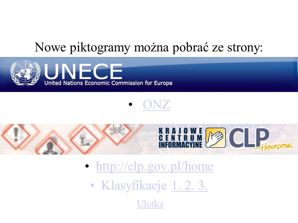 Nowe piktogramy można pobrać ze strony: ONZ http://clp.gov.pl/home Klasyfikacje 1. 2. 3.1. 2. 3. Ulotka