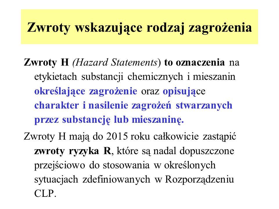 Zwroty wskazujące rodzaj zagrożenia Zwroty H (Hazard Statements) to oznaczenia na etykietach substancji chemicznych i mieszanin określające zagrożenie