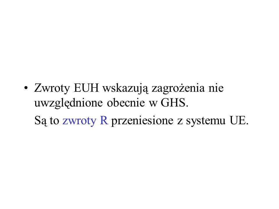 Zwroty EUH wskazują zagrożenia nie uwzględnione obecnie w GHS. Są to zwroty R przeniesione z systemu UE.
