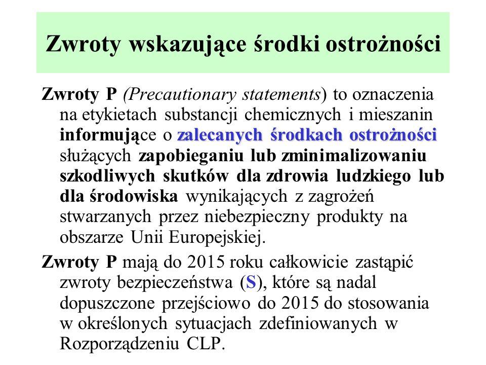 Zwroty wskazujące środki ostrożności zalecanych środkach ostrożności Zwroty P (Precautionary statements) to oznaczenia na etykietach substancji chemic