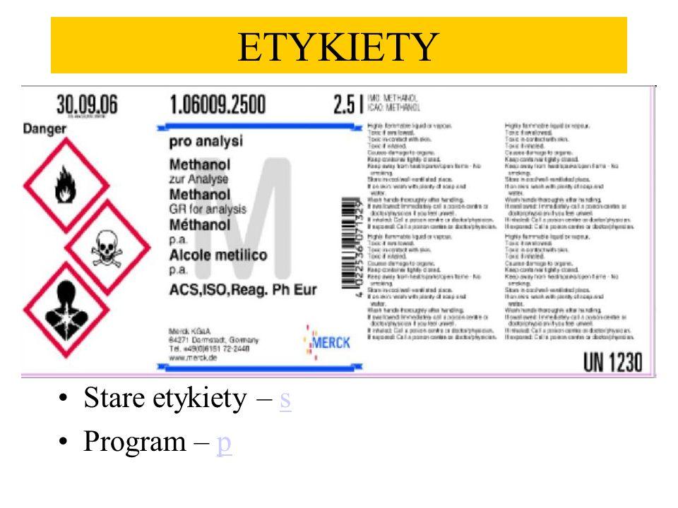 Stare etykiety – ss Program – pp ETYKIETY