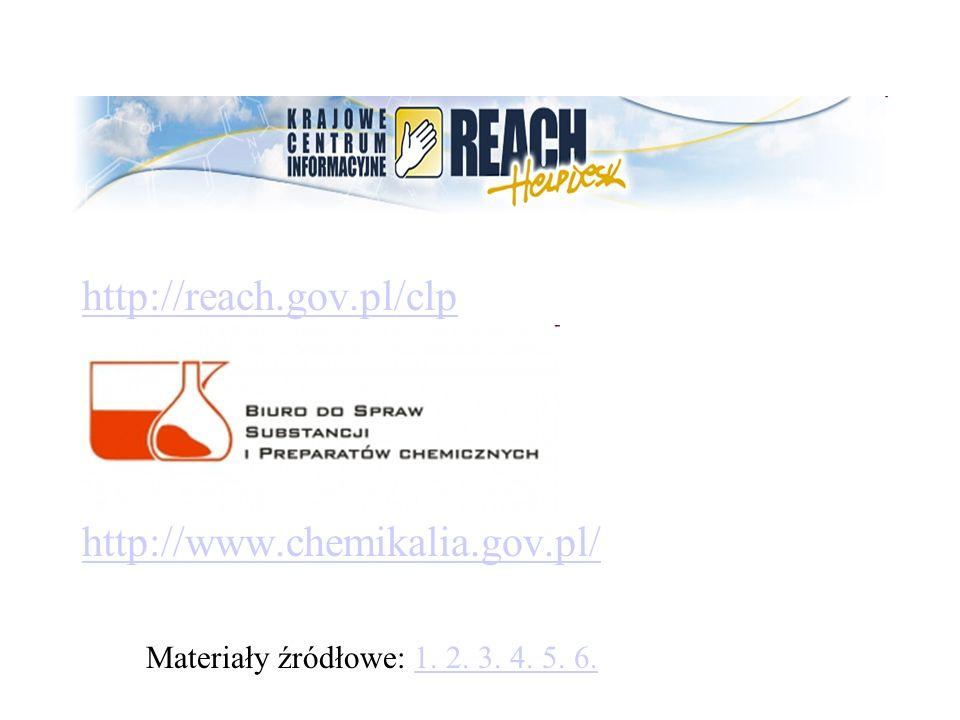 http://reach.gov.pl/clp http://www.chemikalia.gov.pl/ Materiały źródłowe: 1. 2. 3. 4. 5. 6.1. 2. 3. 4. 5. 6.