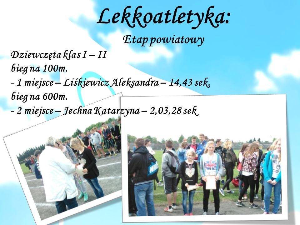 Lekkoatletyka: Etap powiatowy Dziewczęta klas I – II bieg na 100m.