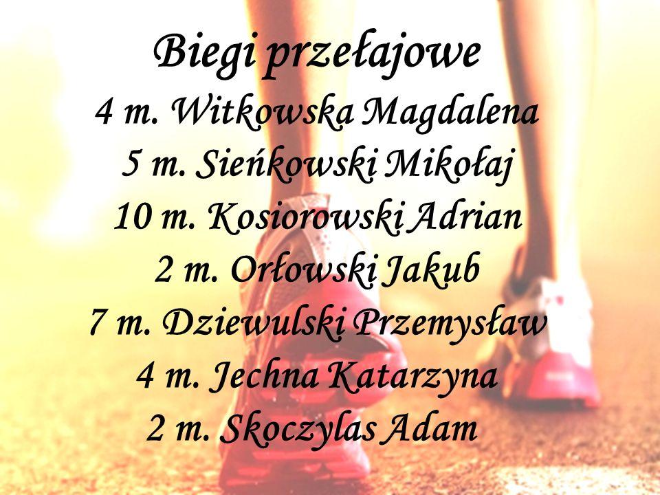 Biegi przełajowe 4 m.Witkowska Magdalena 5 m. Sieńkowski Mikołaj 10 m.