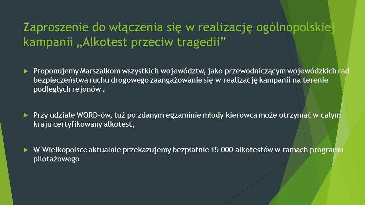 """Zaproszenie do włączenia się w realizację ogólnopolskiej kampanii """"Alkotest przeciw tragedii  Proponujemy Marszałkom wszystkich województw, jako przewodniczącym wojewódzkich rad bezpieczeństwa ruchu drogowego zaangażowanie się w realizację kampanii na terenie podległych rejonów."""