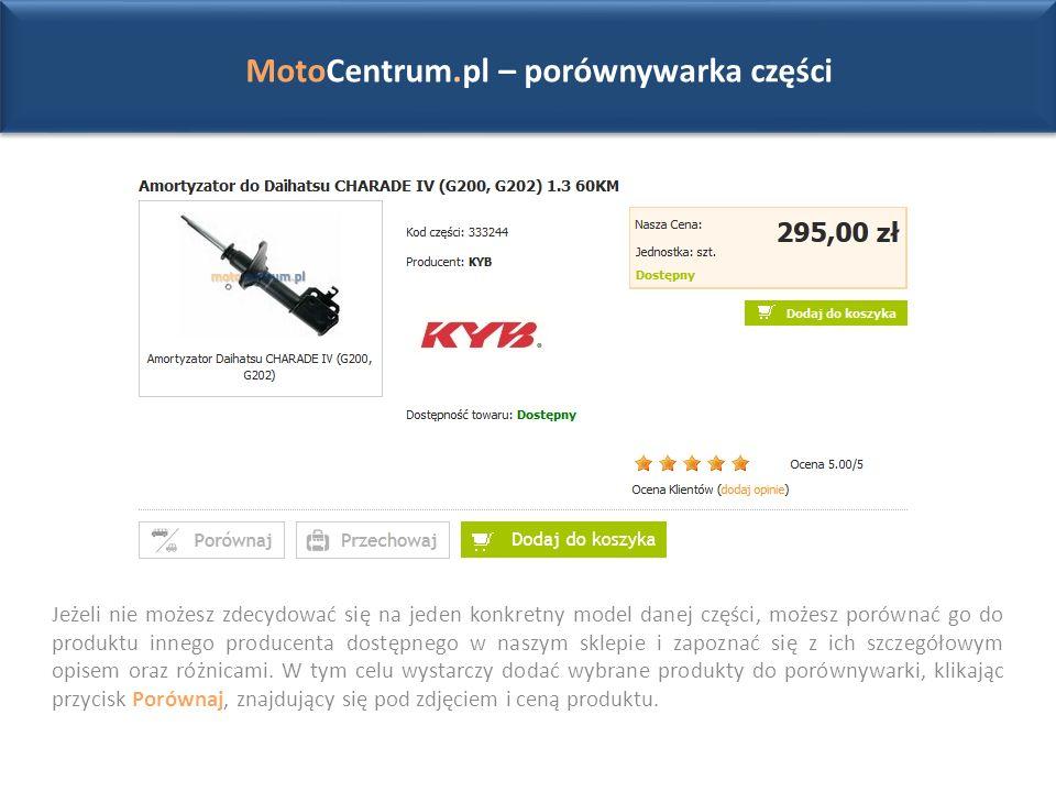 MotoCentrum.pl – porównywarka części Jeżeli nie możesz zdecydować się na jeden konkretny model danej części, możesz porównać go do produktu innego producenta dostępnego w naszym sklepie i zapoznać się z ich szczegółowym opisem oraz różnicami.