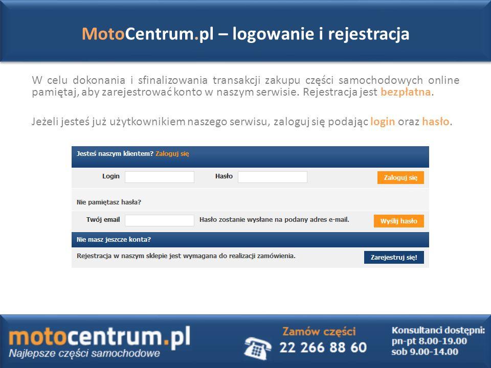 W celu dokonania i sfinalizowania transakcji zakupu części samochodowych online pamiętaj, aby zarejestrować konto w naszym serwisie.