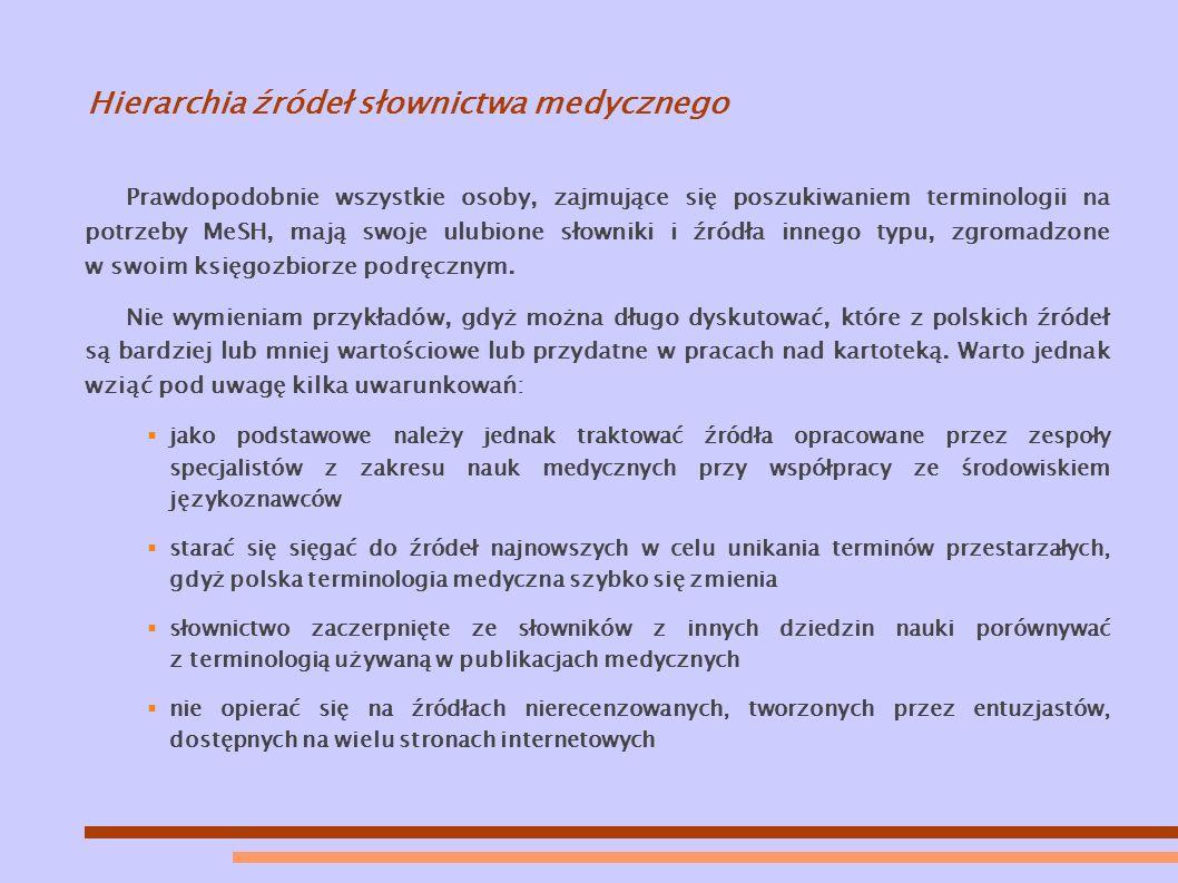 Hierarchia źródeł słownictwa medycznego Prawdopodobnie wszystkie osoby, zajmujące się poszukiwaniem terminologii na potrzeby MeSH, mają swoje ulubione słowniki i źródła innego typu, zgromadzone w swoim księgozbiorze podręcznym.