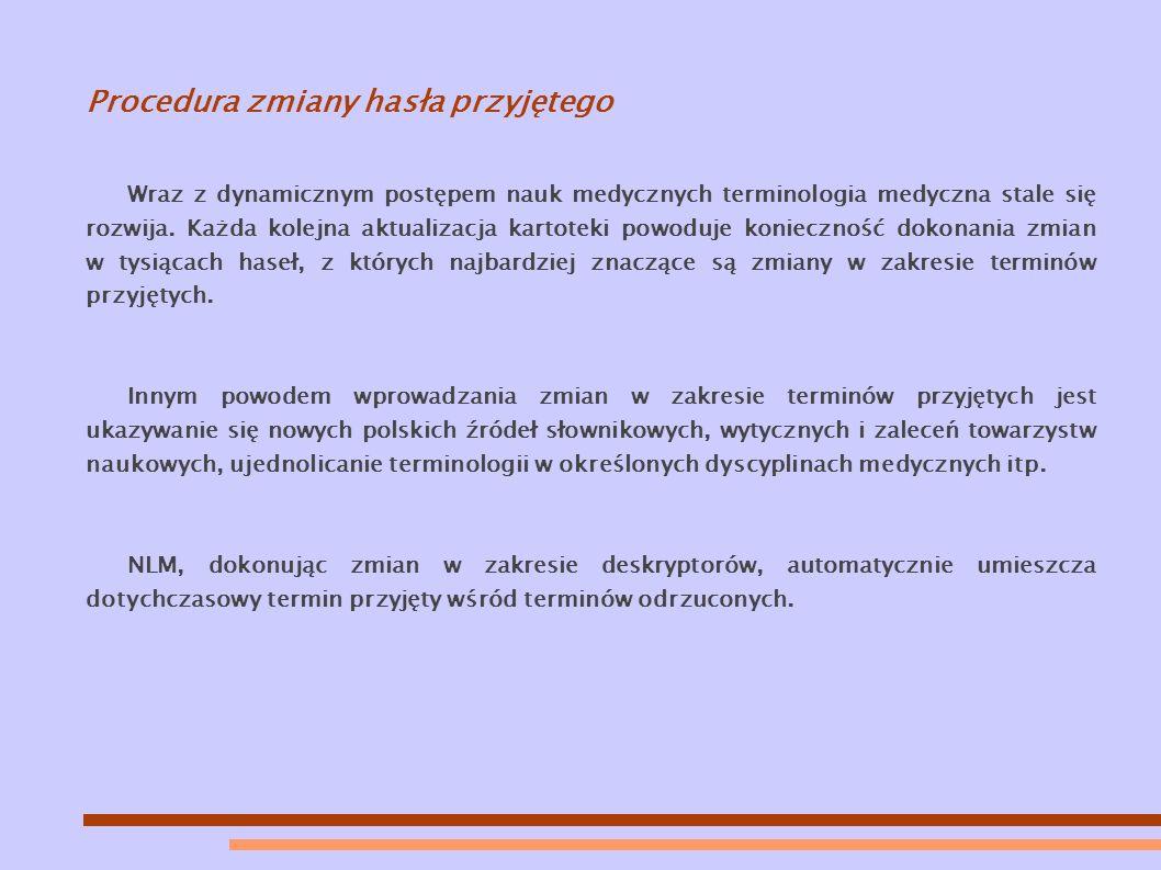 Procedura zmiany hasła przyjętego Wraz z dynamicznym postępem nauk medycznych terminologia medyczna stale się rozwija.