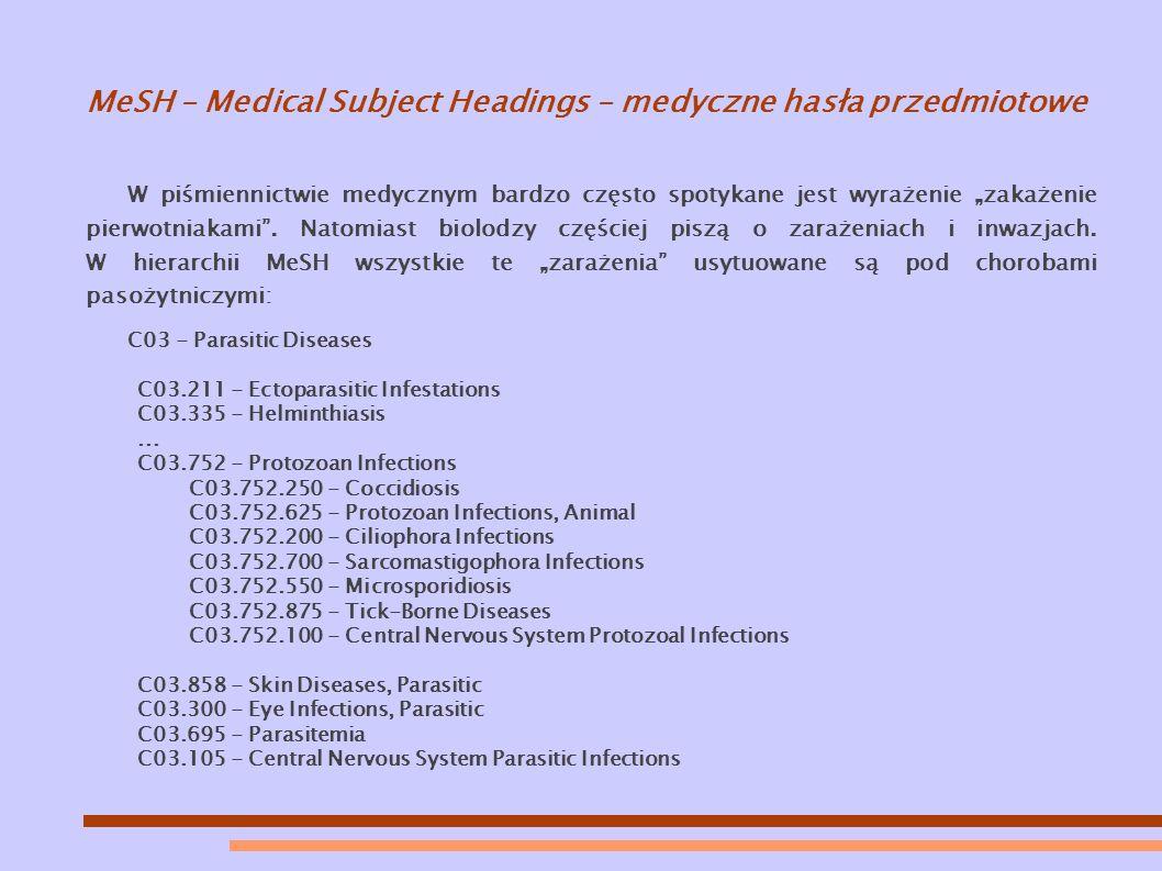 """MeSH – Medical Subject Headings – medyczne hasła przedmiotowe W piśmiennictwie medycznym bardzo często spotykane jest wyrażenie """"zakażenie pierwotniakami ."""