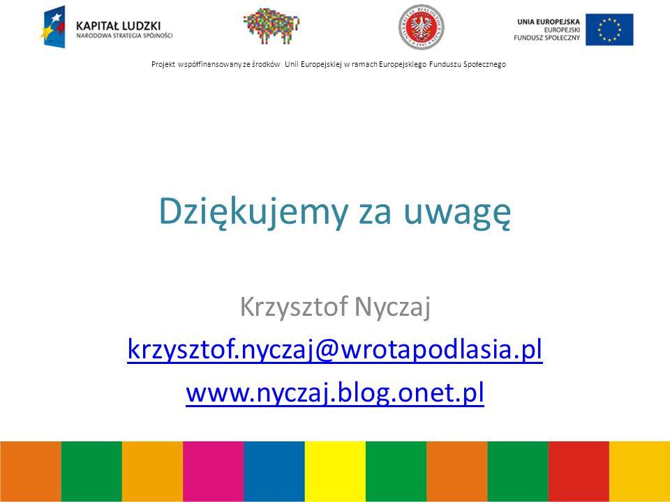 Projekt współfinansowany ze środków Unii Europejskiej w ramach Europejskiego Funduszu Społecznego Dziękujemy za uwagę Krzysztof Nyczaj krzysztof.nyczaj@wrotapodlasia.pl www.nyczaj.blog.onet.pl