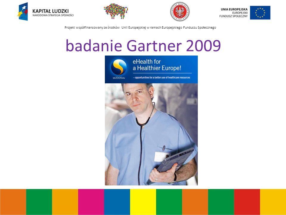 Projekt współfinansowany ze środków Unii Europejskiej w ramach Europejskiego Funduszu Społecznego badanie Gartner 2009