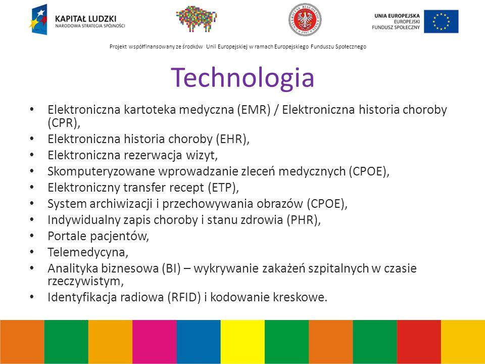 Projekt współfinansowany ze środków Unii Europejskiej w ramach Europejskiego Funduszu Społecznego Technologia Elektroniczna kartoteka medyczna (EMR) / Elektroniczna historia choroby (CPR), Elektroniczna historia choroby (EHR), Elektroniczna rezerwacja wizyt, Skomputeryzowane wprowadzanie zleceń medycznych (CPOE), Elektroniczny transfer recept (ETP), System archiwizacji i przechowywania obrazów (CPOE), Indywidualny zapis choroby i stanu zdrowia (PHR), Portale pacjentów, Telemedycyna, Analityka biznesowa (BI) – wykrywanie zakażeń szpitalnych w czasie rzeczywistym, Identyfikacja radiowa (RFID) i kodowanie kreskowe.