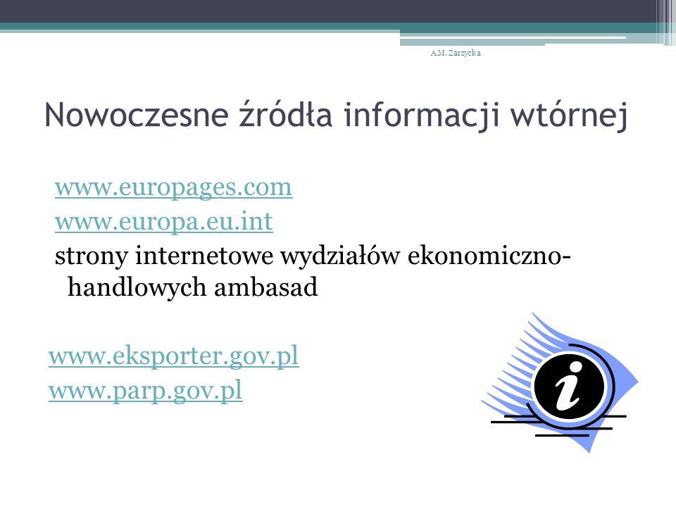 Nowoczesne źródła informacji wtórnej www.europages.com www.europa.eu.int strony internetowe wydziałów ekonomiczno- handlowych ambasad www.eksporter.gov.pl www.parp.gov.pl A.M.