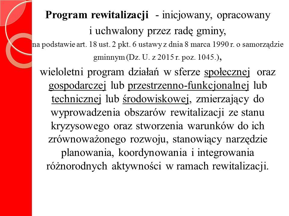 Program rewitalizacji - inicjowany, opracowany i uchwalony przez radę gminy, na podstawie art.