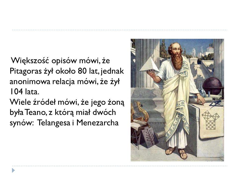 Większość opisów mówi, że Pitagoras żył około 80 lat, jednak anonimowa relacja mówi, że żył 104 lata. Wiele źródeł mówi, że jego żoną była Teano, z kt