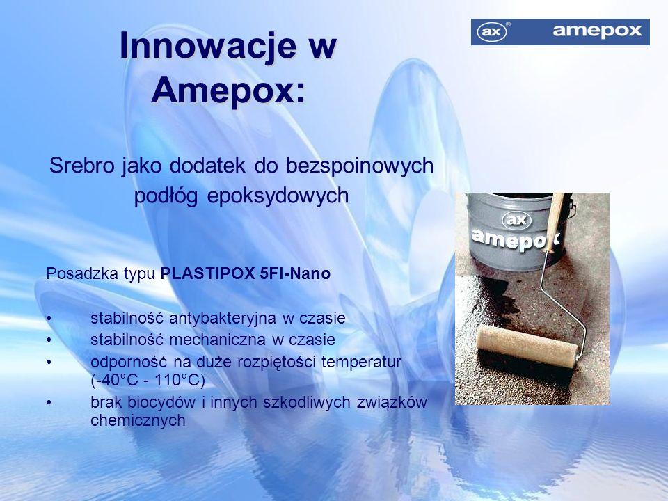 Innowacje w Amepox: Srebro jako dodatek do bezspoinowych podłóg epoksydowych Posadzka typu PLASTIPOX 5FI-Nano stabilność antybakteryjna w czasie stabi