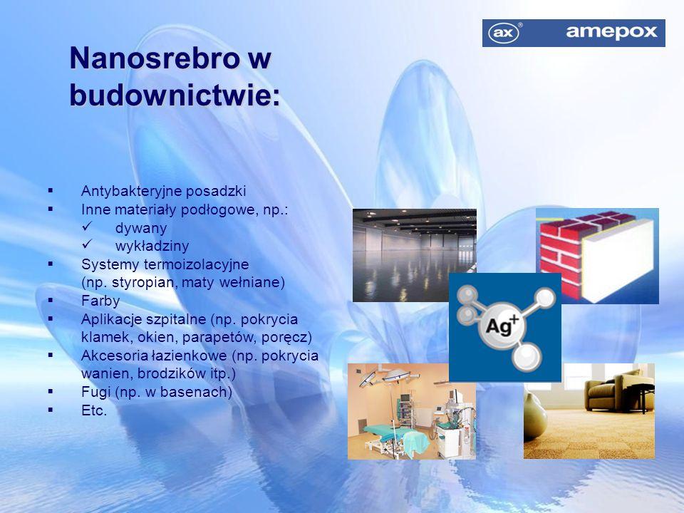 Nanosrebro w budownictwie:  Antybakteryjne posadzki  Inne materiały podłogowe, np.: dywany wykładziny  Systemy termoizolacyjne (np. styropian, maty
