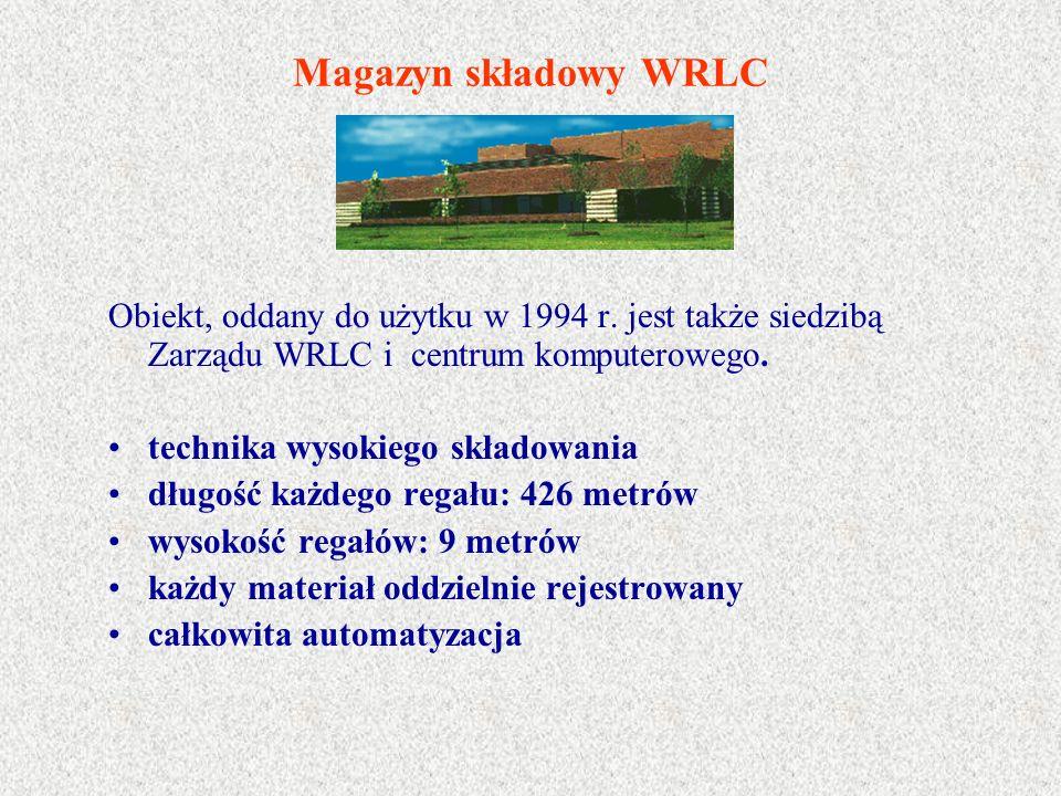 Magazyn składowy WRLC Obiekt, oddany do użytku w 1994 r. jest także siedzibą Zarządu WRLC i centrum komputerowego. technika wysokiego składowania dług