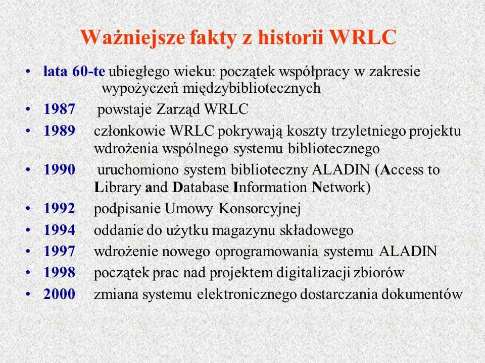 Ważniejsze fakty z historii WRLC lata 60-te ubiegłego wieku: początek współpracy w zakresie wypożyczeń międzybibliotecznych 1987 powstaje Zarząd WRLC 1989 członkowie WRLC pokrywają koszty trzyletniego projektu wdrożenia wspólnego systemu bibliotecznego 1990 uruchomiono system biblioteczny ALADIN (Access to Library and Database Information Network) 1992 podpisanie Umowy Konsorcyjnej 1994 oddanie do użytku magazynu składowego 1997 wdrożenie nowego oprogramowania systemu ALADIN 1998 początek prac nad projektem digitalizacji zbiorów 2000 zmiana systemu elektronicznego dostarczania dokumentów