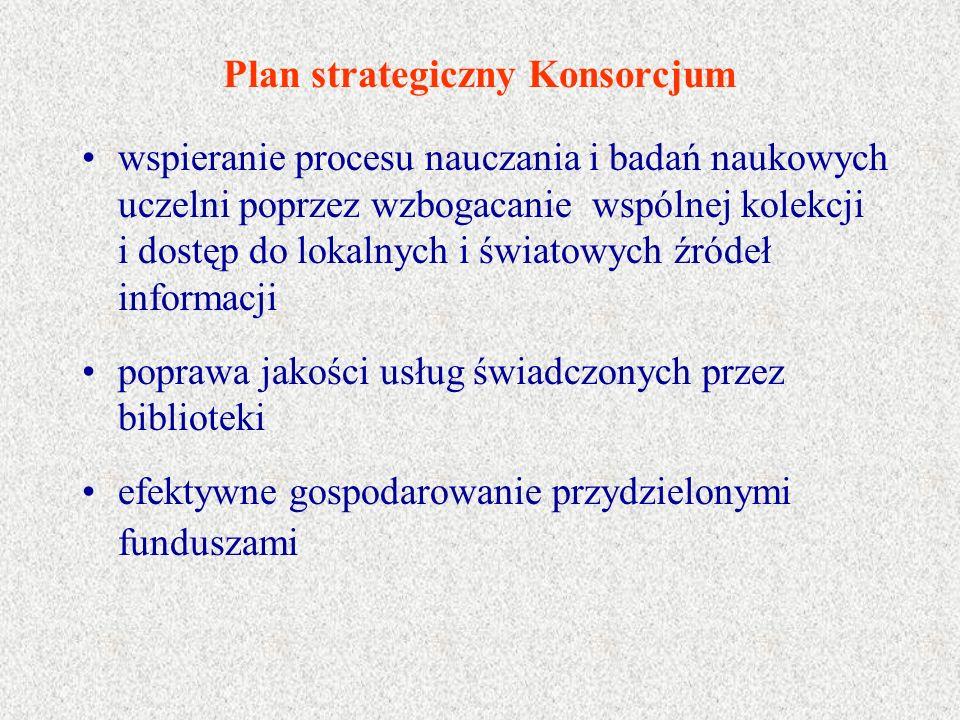 Plan strategiczny Konsorcjum wspieranie procesu nauczania i badań naukowych uczelni poprzez wzbogacanie wspólnej kolekcji i dostęp do lokalnych i świa
