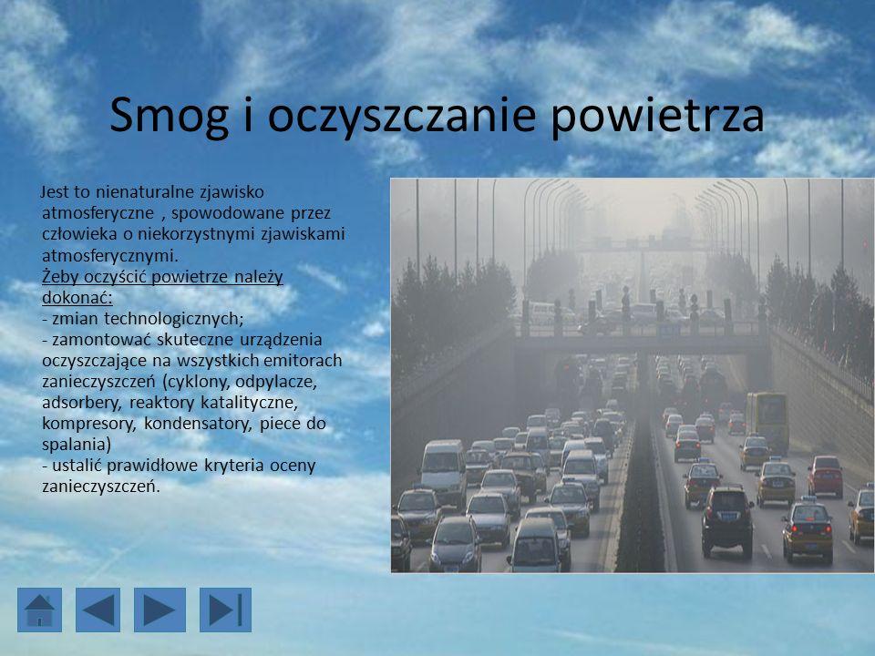 Smog i oczyszczanie powietrza Jest to nienaturalne zjawisko atmosferyczne, spowodowane przez człowieka o niekorzystnymi zjawiskami atmosferycznymi.