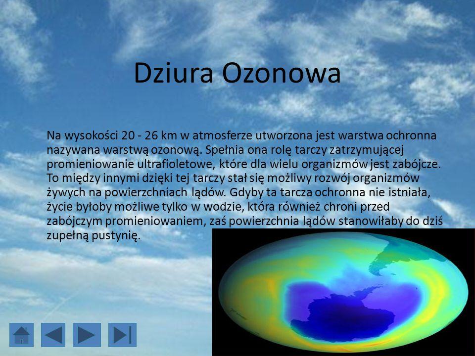 Dziura Ozonowa Na wysokości 20 - 26 km w atmosferze utworzona jest warstwa ochronna nazywana warstwą ozonową.