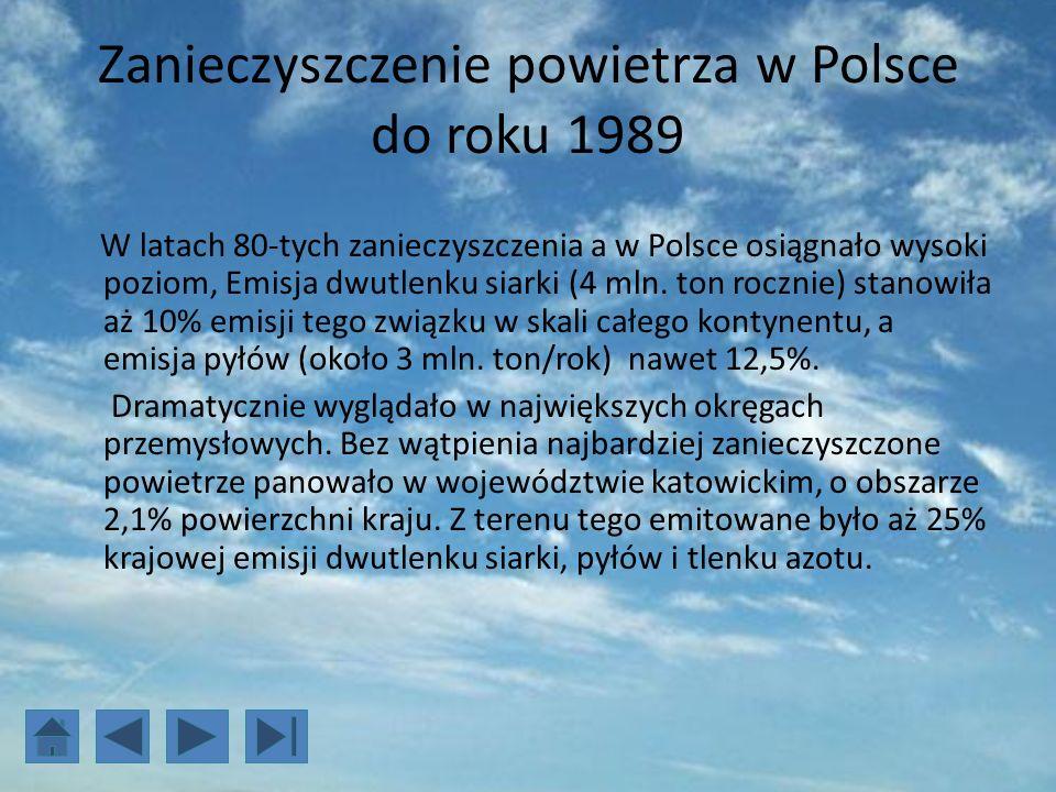 Zanieczyszczenie powietrza w Polsce do roku 1989 W latach 80-tych zanieczyszczenia a w Polsce osiągnało wysoki poziom, Emisja dwutlenku siarki (4 mln.