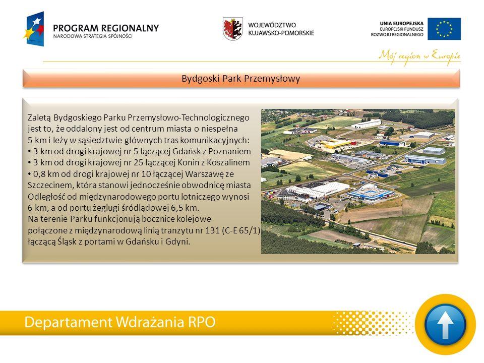 13 Bydgoski Park Przemysłowy Zaletą Bydgoskiego Parku Przemysłowo-Technologicznego jest to, że oddalony jest od centrum miasta o niespełna 5 km i leży
