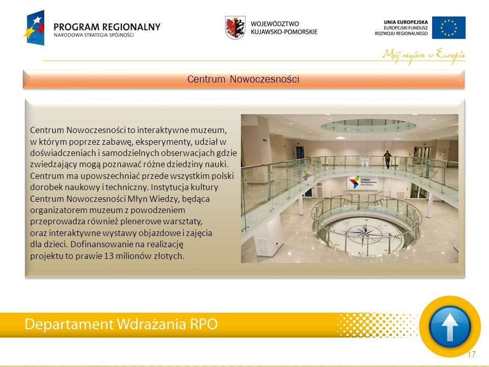 Centrum Nowoczesności to interaktywne muzeum, w którym poprzez zabawę, eksperymenty, udział w doświadczeniach i samodzielnych obserwacjach gdzie zwied