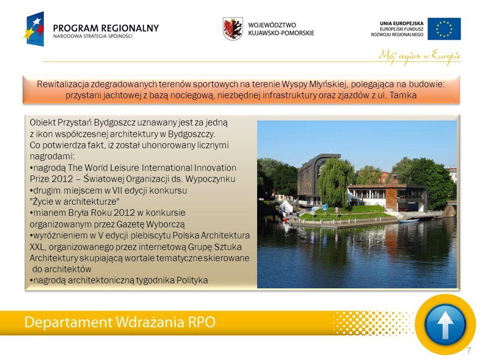 Całkowita wartość projektów 6 726 mln PLN Kwota wydatków kwalifikowalnych 6 002 mln PLN Dofinansowanie 3 567 mln PLN Liczba zawartych umów 1 771 Wykorzystanie środków 83,43% (na podstawie podpisanych umów) Całkowita wartość projektów 6 726 mln PLN Kwota wydatków kwalifikowalnych 6 002 mln PLN Dofinansowanie 3 567 mln PLN Liczba zawartych umów 1 771 Wykorzystanie środków 83,43% (na podstawie podpisanych umów) Stan wdrażania Regionalnego Programu Operacyjnego Województwa Kujawsko-Pomorskiego na lata 2007-2013 wg stanu na dzień 28.02.2014 r.