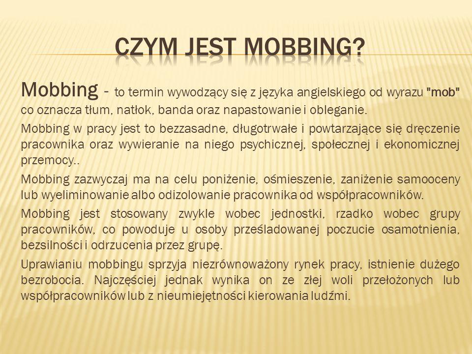 Mobbing - to termin wywodzący się z języka angielskiego od wyrazu