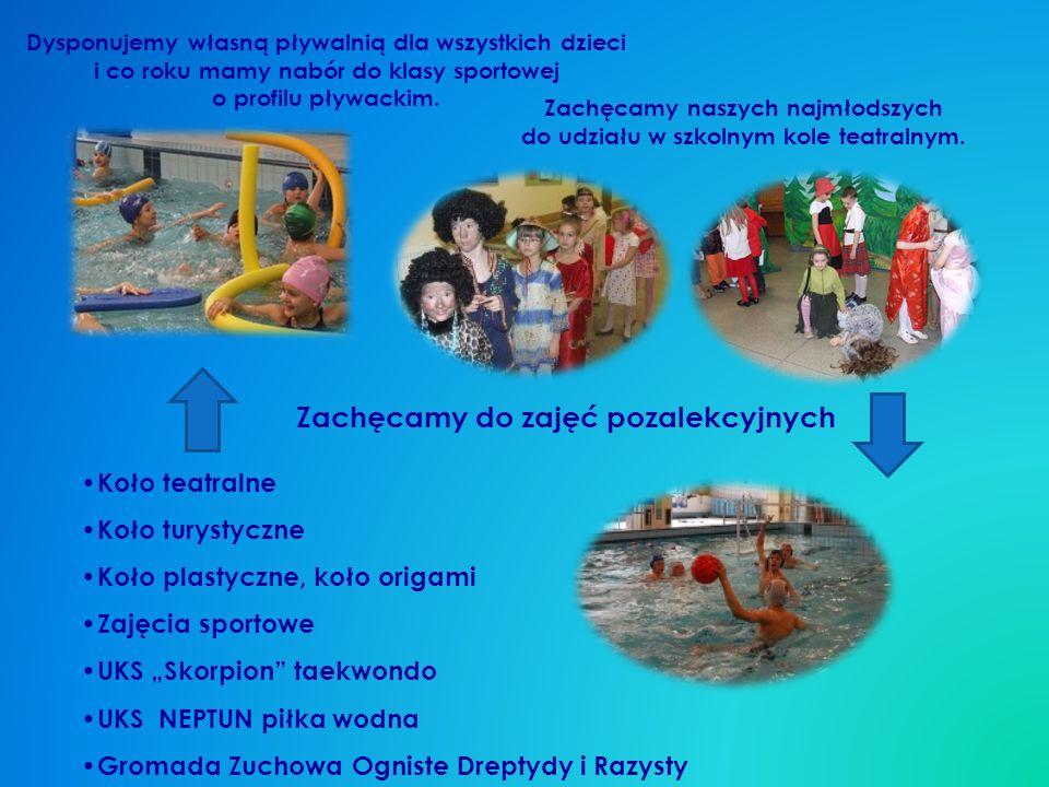 Dysponujemy własną pływalnią dla wszystkich dzieci i co roku mamy nabór do klasy sportowej o profilu pływackim.
