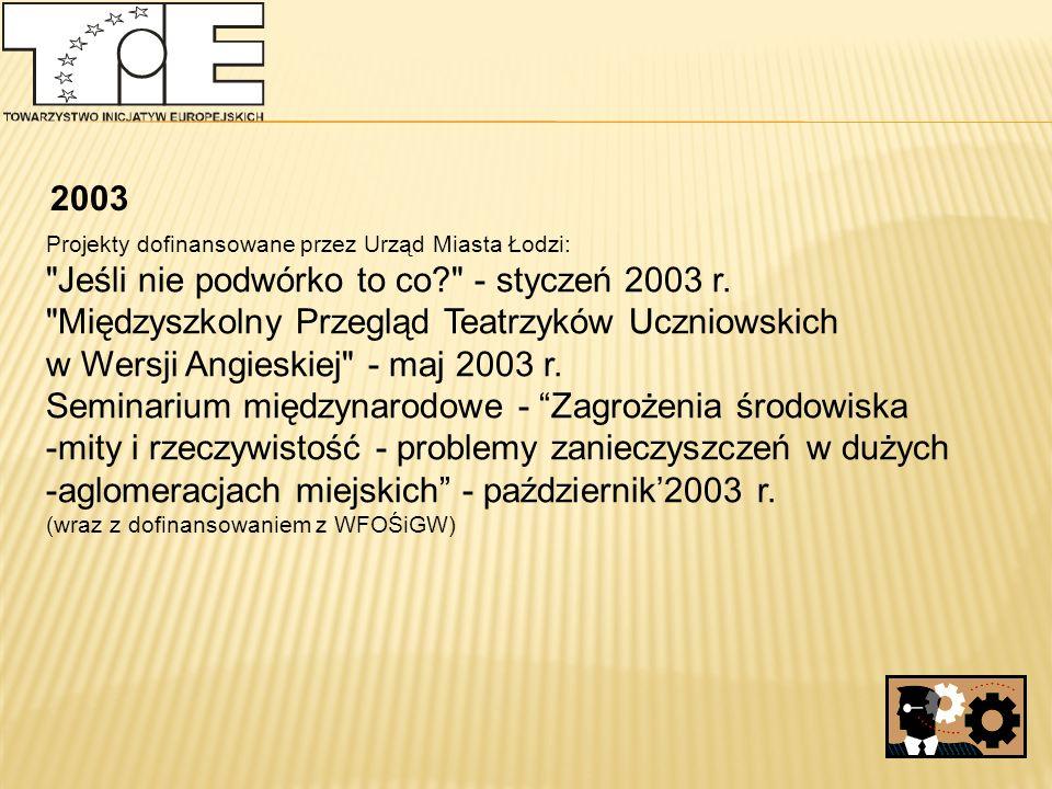 2003 Projekty dofinansowane przez Urząd Miasta Łodzi: Jeśli nie podwórko to co - styczeń 2003 r.