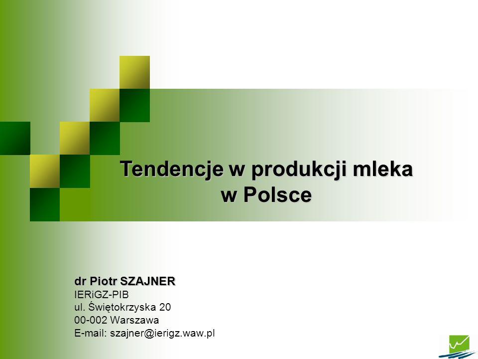 dr Piotr SZAJNER IERiGZ-PIB ul. Świętokrzyska 20 00-002 Warszawa E-mail: szajner@ierigz.waw.pl Tendencje w produkcji mleka w Polsce