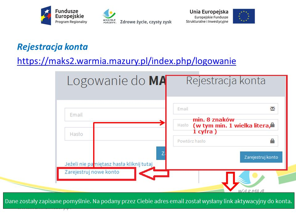 Rejestracja konta https://maks2.warmia.mazury.pl/index.php/logowanie